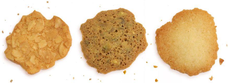 Tejas de almendra, de pistacho y de coco